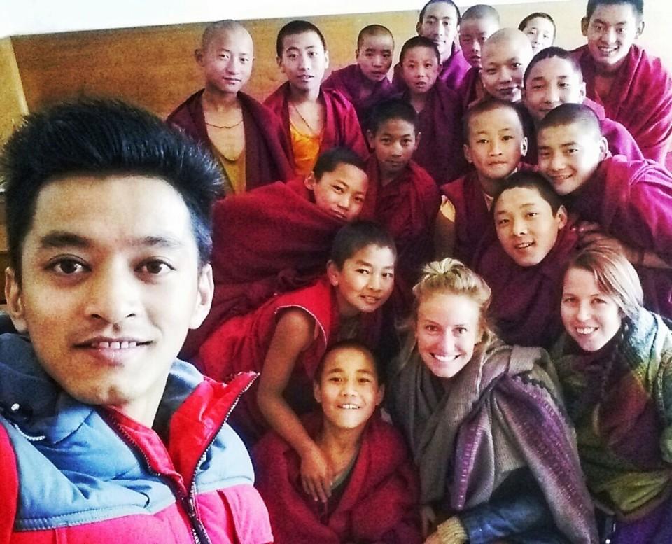 With novice monks at Tawang Monastery, Arunachal Pradesh