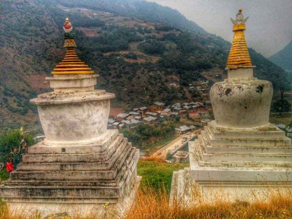 View of Dirang from Kastong Monastery