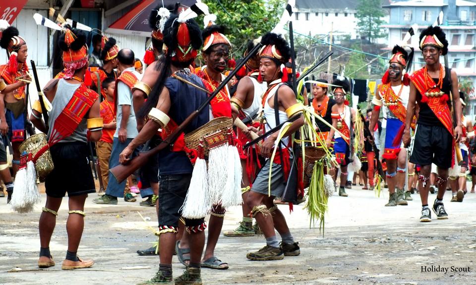 Dancers practising during Aoling Festival, Nagaland