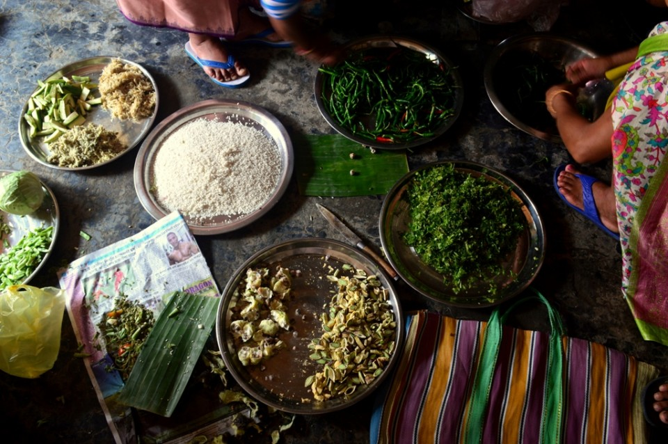 Women preparing ingredients