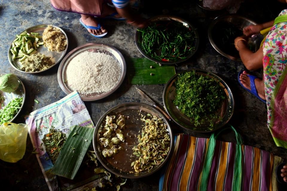 Women preparing ingredients