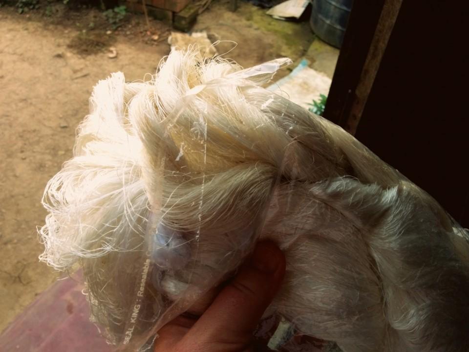 A skein of raw silk